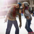 Stock Photo: Winter sport, father and daughter
