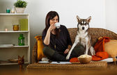 Young woman is playing with dog, at home — Stock Photo