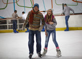 Winter sport, father and daughter — Stock Photo