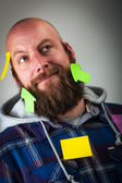 Funny guy and stickers — Stock Photo