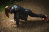 Stretching in park — Stock Photo