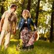 Caucasian man and woman outdoor — Stockfoto