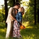 Romantic couple walking in park — Zdjęcie stockowe #48813207