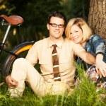 Young caucasian man and woman enjoying in nature — Zdjęcie stockowe #48813931