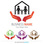 Company (Business) Logo Design, Vector, Heart, House, Family — Stock Vector