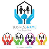 Company (Business) Logo Design, Vector, Heart, House, Family — Stock Vector