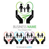 Company (Business) Logo Design, Vector, Heart, Family, Hands — Stock Vector