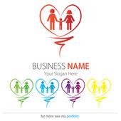 дизайн логотипа компании (бизнеса), вектор, сердце, семья, руки — Cтоковый вектор