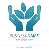 Business (Company) Logo, Bio, Eco, Vector, Hand, Earth, Leaf — Stock Vector