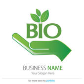 Business (Company) Logo, Bio, Eco, Vector, Hand, Earth, Leaf — Stock Vector