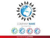 Company Logo Design, Peoples, Family, Earth, Globe — Stock Vector