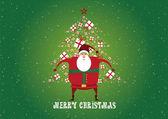 Merry Christmas, Santa Claus, Christmas Tree, Gifts — Stock Vector
