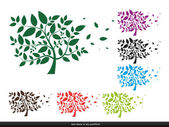Tree with leaves - silhouette,plant,forest — Stock Vector