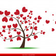 Stock Vector: Tree with red heart leaves,love