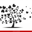 Tree with red heart leaves,love - Imagens vectoriais em stock