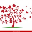 Tree with red heart leaves,love — Stock Vector #24813727