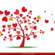 Tree with red heart leaves,love — Imagens vectoriais em stock