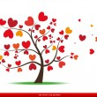 Tree with red heart leaves,love — Stock Vector #24813745