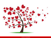Tree with red heart leaves,love — Stock Vector