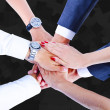 Teamwork,holding hands,handshake,business background — Stock Photo #31990939
