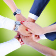 Teamwork,holding hands,handshake,business background — Stock Photo #31991069