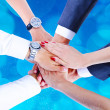 Teamwork,holding hands,handshake,business background — Stock Photo #31991195