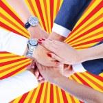 Teamwork,holding hands,handshake,business background — Stock Photo #31991197