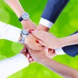 Teamwork,holding hands,handshake,business background — Photo
