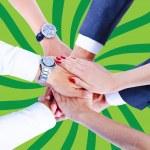 Teamwork,holding hands,handshake,business background — Stock Photo #31991363