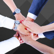 Teamwork,holding hands,handshake,business background — Foto Stock