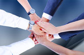 Teamwork,holding hands,handshake,business background — Stock Photo