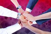 Teamwork,holding hands,handshake,business background — Stock Photo