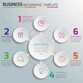 3-6 passaggi di processo business infografica vector, sfondo chiaro, cerchi, bolle — Vettoriale Stock