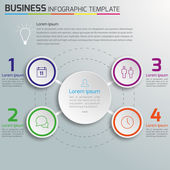 3-6 Steps process business infographics vector, light background, circles, bubbles — Stock Vector