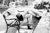 Fashion Model Outdoor — Stock Photo