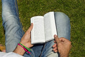 Young Man Ex-muslim Reading Bible Outside — Stock Photo