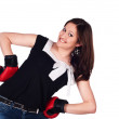 Young beautiful boxer woman with red boxing gloves — Stock Photo