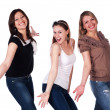 Three happy excited young women — Stock Photo