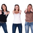 Beautiful smiling women giving two thumbs up — Stock Photo