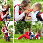 Happy family having fun in park — Stock Photo