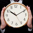Clock in hands of businessman — Stock Photo