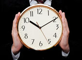 Clock in hands of businessman — Foto de Stock