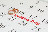 Wedding Day writing on a white calendar page — Stock Photo