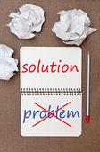 Problem i rozwiązanie. — Zdjęcie stockowe