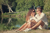 Couple in love outdoor — 图库照片