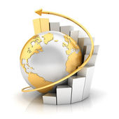 3d business earth with bar chart — Foto Stock