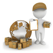 3d white worldwide delivery — Stock Photo