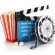 3d cinema clapper, film reel and popcorn — ストック写真