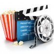 Stock Photo: 3d cinema clapper, film reel and popcorn