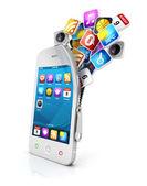 3d öppna smartphone — Stockfoto
